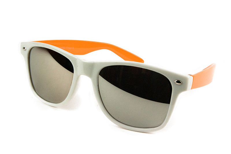 Blues Brothers Retro Sonnenbrille Wayfarer weiss-orange